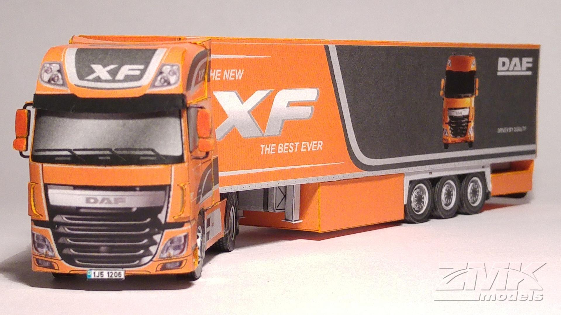 Papercraft imprimible y armable del Camión DAF XF Euro 6. Manualidades a Raudales.